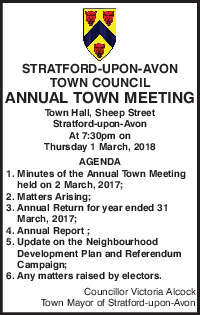 Stratford Upon Avon Town Council Advert
