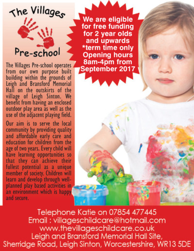 The Villages Pre School Advert