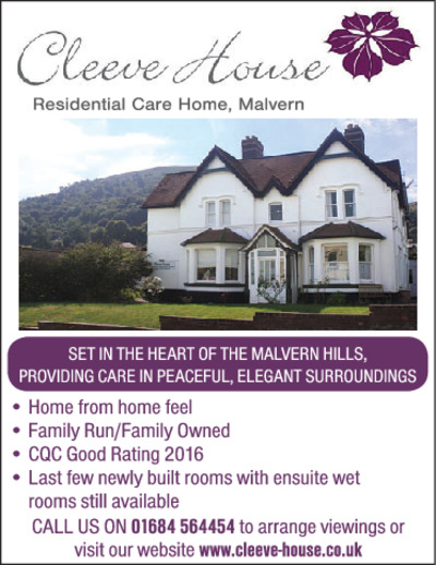 Cleeve House Care Home Advert