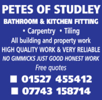 Petes Of Studley Advert