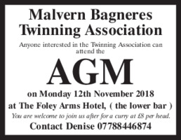 Malvern Bagneres Twinning Association Advert