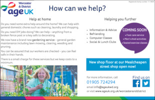 Age Uk Worcester Advert